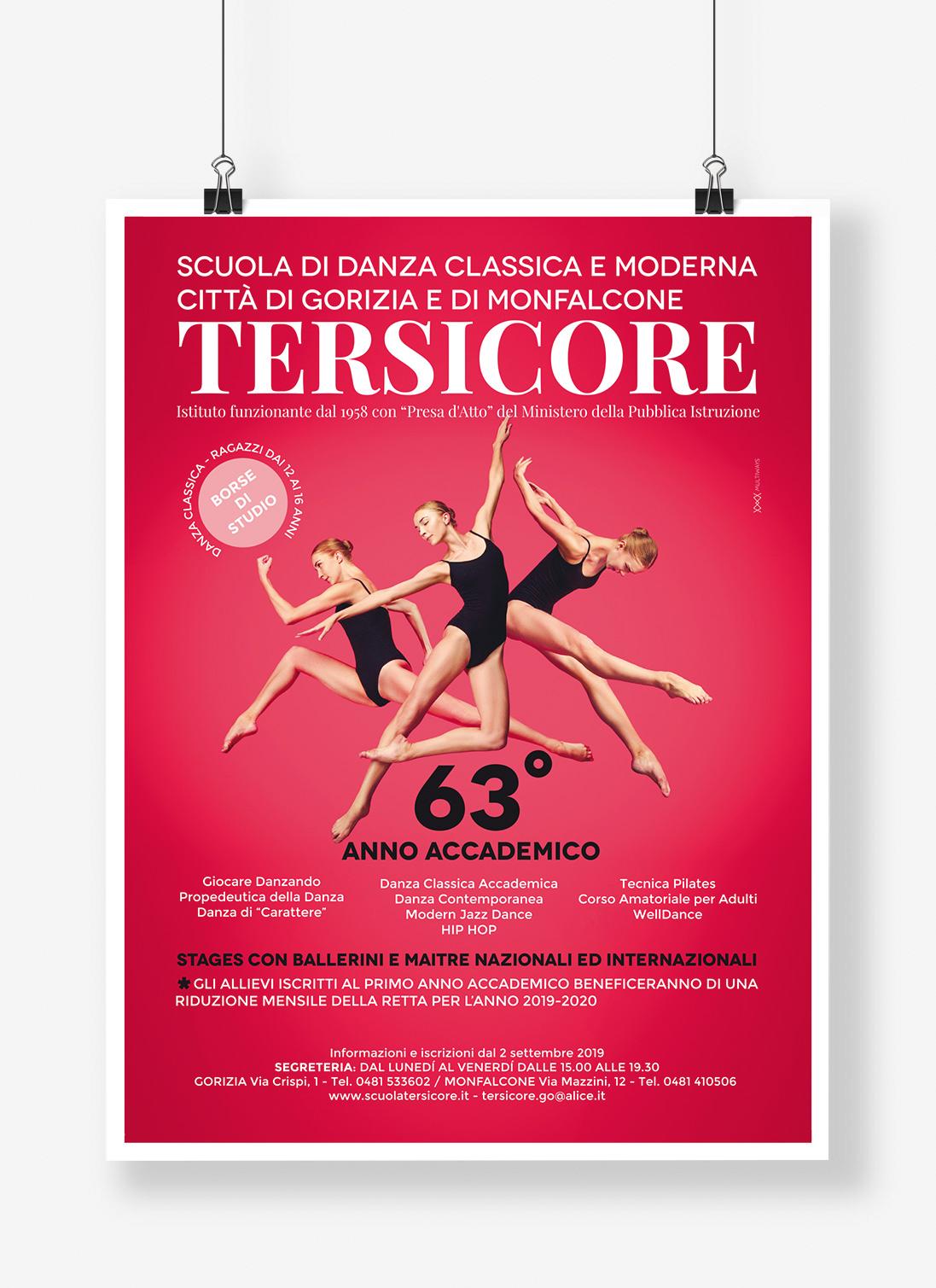 Locandina per la scuola di danza Tersicore di Gorizia